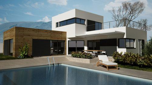 Beautiful maison moderne en bois avec piscine contemporary for Villa ossature bois